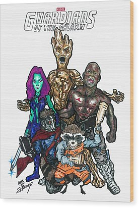 Guardians Of The Galaxy Wood Print by Michael Dijamco