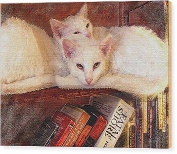 Guardians Of The Library Wood Print by Jane Schnetlage