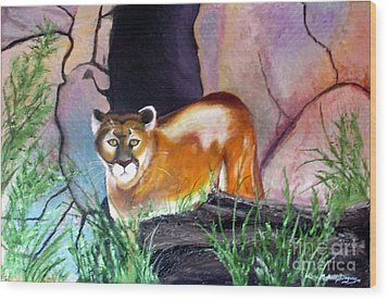 Guarding The Cave Wood Print