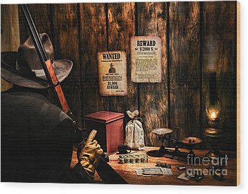 Guarding The Payroll Wood Print by Olivier Le Queinec