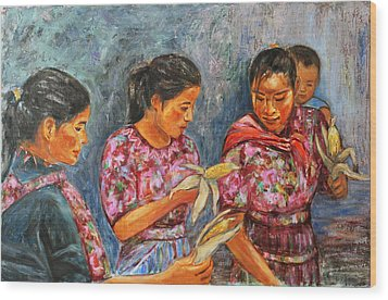 Wood Print featuring the painting Guatemala Impression IIi by Xueling Zou