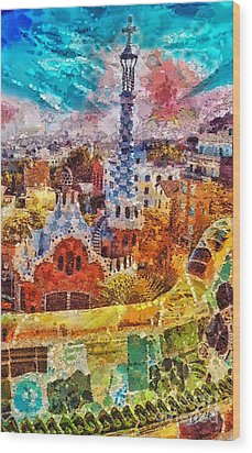 Guell Park Wood Print by Mo T