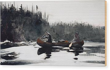 Guides Shooting Rapids Wood Print by Winslow Homer