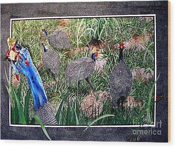 Guinea Fowl In Guinea Grass Wood Print by Sylvie Heasman