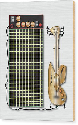 Guitar And Amp Wood Print by Marvin Blaine