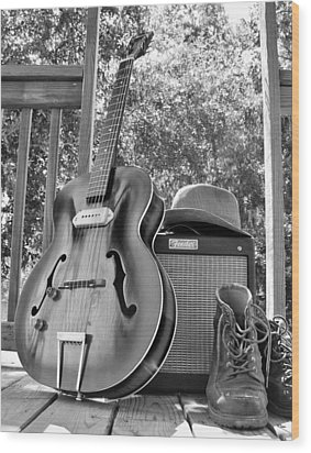 guitar and Boots Wood Print by Thomas Leon
