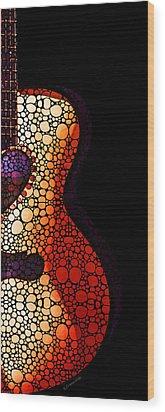 Guitar Art - She Waits Wood Print by Sharon Cummings