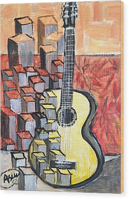Guitar Wood Print by Asuncion Purnell