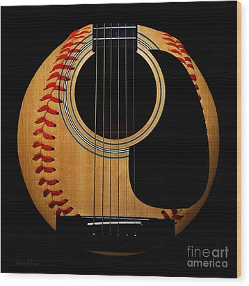Guitar Baseball Square Wood Print by Andee Design