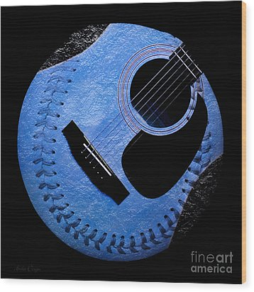 Guitar Blueberry Baseball Square Wood Print by Andee Design