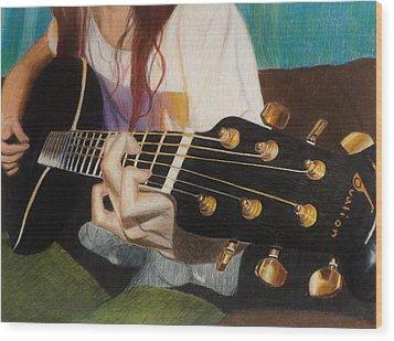 Guitar Drawing Wood Print by Savanna Paine