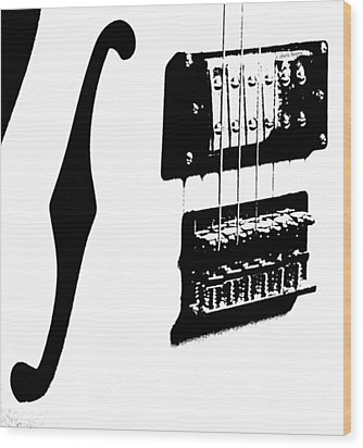 Guitar Graphic In Black And White  Wood Print by Chris Berry