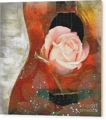 Guitar Love Wood Print by Michelle Frizzell-Thompson