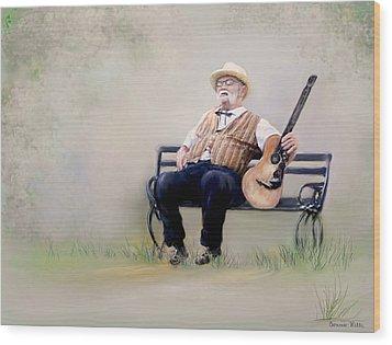 Guitar Man Wood Print by Bonnie Willis