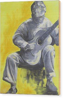 Guitar Man In Shades Of Grey Wood Print by Susan Richardson