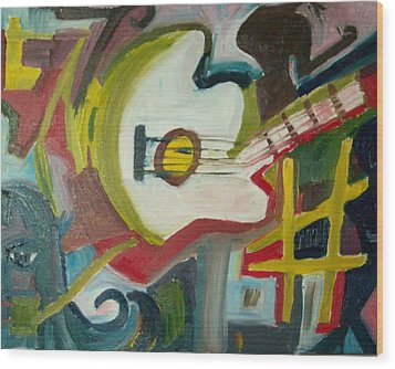 Guitar Muse In C Sharp Wood Print by James Christiansen