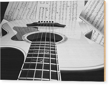 Guitar Music Wood Print