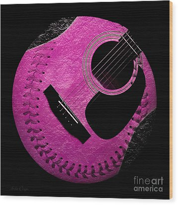 Guitar Raspberry Baseball Wood Print by Andee Design