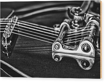Guitar Reflection Wood Print by Karol Livote