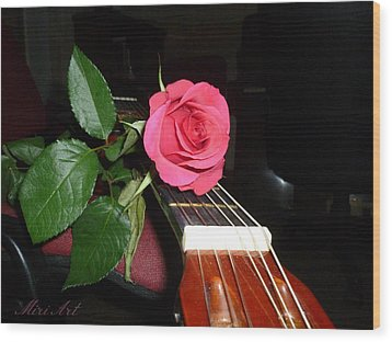 Guitar Rose Wood Print