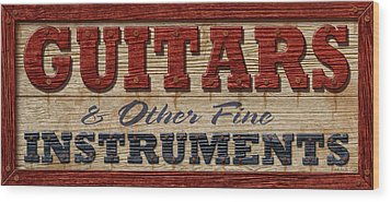 Guitar Sign Wood Print by WB Johnston