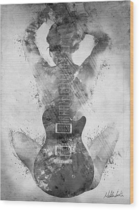 Guitar Siren In Black And White Wood Print