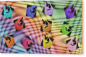 Guitar Storm - Rainbow Colors - Music - Abstract Wood Print by Andee Design
