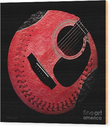Guitar Strawberry Baseball Wood Print by Andee Design