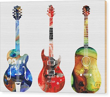 Guitar Threesome - Colorful Guitars By Sharon Cummings Wood Print by Sharon Cummings