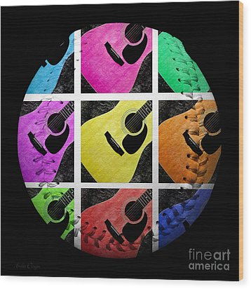 Guitar Tic Tac Toe White Baseball Square Wood Print by Andee Design