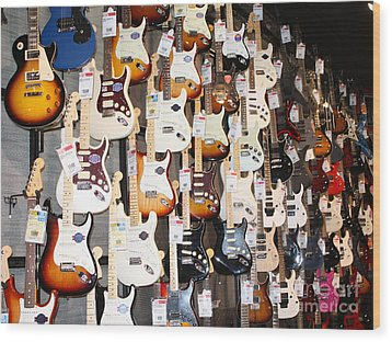 Guitar Wall Of Fame Wood Print