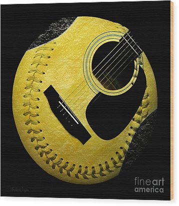 Guitar Yellow Baseball Square Wood Print by Andee Design