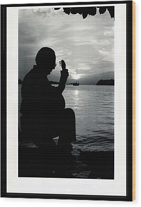 Guitarist By The Sea Wood Print
