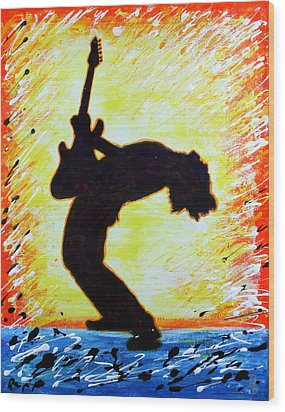 Wood Print featuring the painting Guitarist Rockin' Out Silhouette by Bob Baker