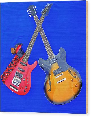 Double Heaven - Guitars At Rest Wood Print