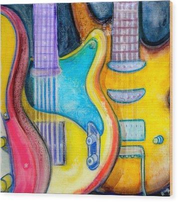 Guitars Wood Print by Debi Starr