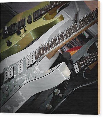Guitars For Play Wood Print by David Patterson