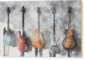 Wood Print featuring the mixed media Guitars On The Wall by Arline Wagner