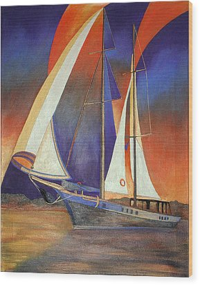 Gulet Under Sail Wood Print by Tracey Harrington-Simpson