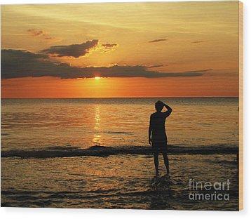 Gulf Coast Sunset Wood Print by Sharon Burger
