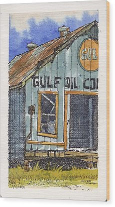 Wood Print featuring the mixed media Gulf Oil Warehouse 2 by Tim Oliver