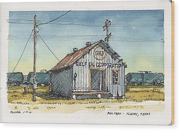 Wood Print featuring the mixed media Gulf Oil Warehouse by Tim Oliver