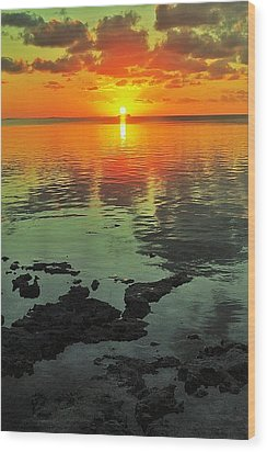 Gulf Sunset Wood Print by Benjamin Yeager