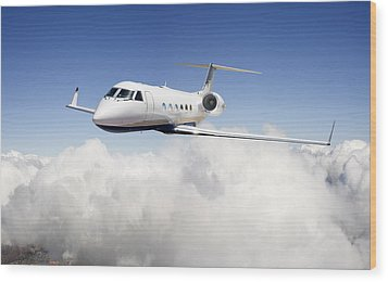 Gulfstream G-450 Wood Print by Larry McManus