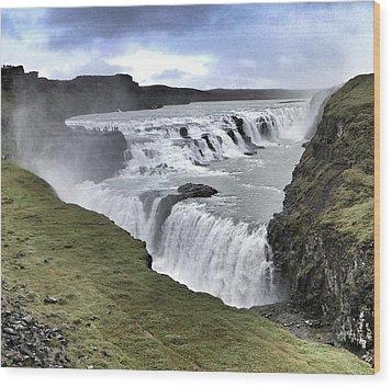 Gullfoss Falls Sw Iceland Wood Print