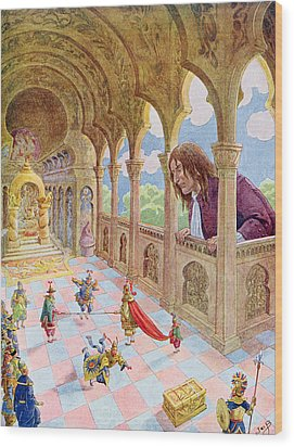 Gulliver At Lilliput Wood Print by Jacques Onfray de Breville