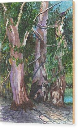 Gum Trees In Oz Wood Print by Carol Wisniewski