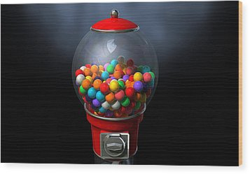 Gumball Dispensing Machine Dark Wood Print by Allan Swart