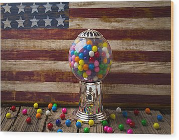 Gumball Machine And Old Wooden Flag Wood Print by Garry Gay