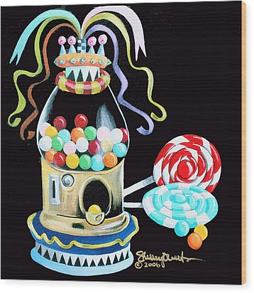 Gumball Machine And The Lollipops Wood Print